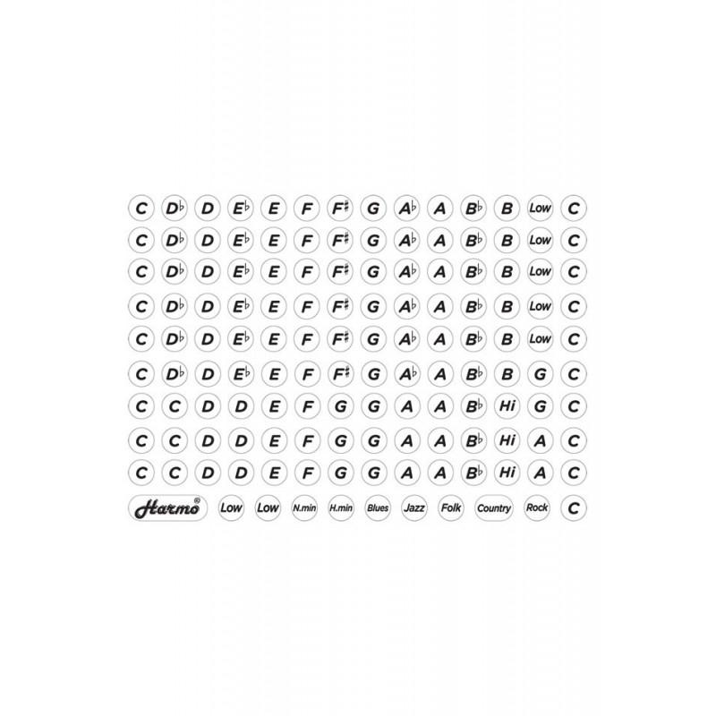 Harmonica Key Label Stickers 2D